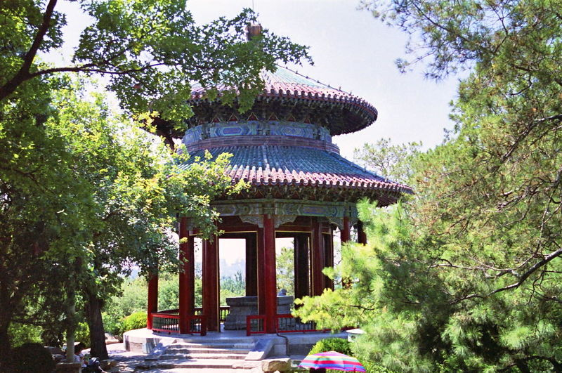 Pavilion of Broad View Architecture Beijing Blue Sky Built Structure Chilling Chinese Culture Circular Colourful Composition Exterior Full Frame Gazebo Lush Foliage Nature No People Outdoor Photography Pavilion Pavilion Of Broad View Pillars Roofs Temple - Building Tourism Tourist Attraction  Travel Destinations Trees