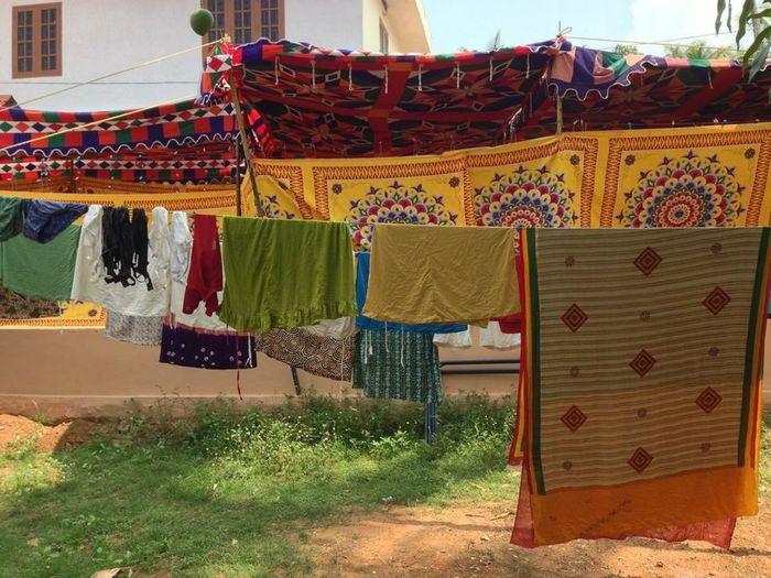 India Kerala Tappeti Colori Giallo Stendere
