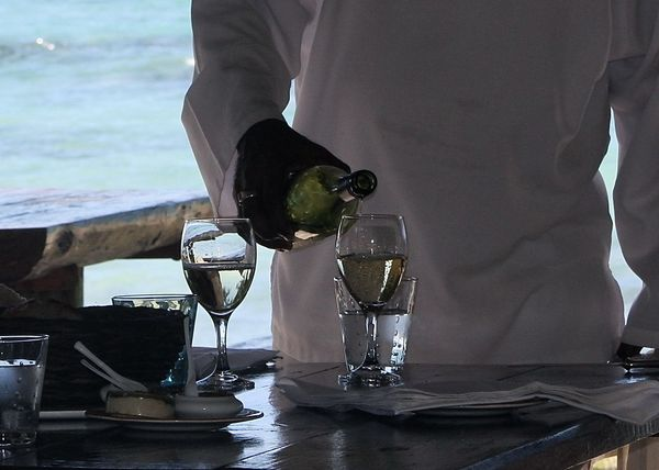 Beach Beachbar Close-up Colour Of Life Drink Enjoying Life EyeEm Best Shots Focus On Foreground Food And Drink Lifestyles Lunch Time! Mauritius Mineral Water Ocean Part Of Relaxing Service Table Take Your Place Wine Moments Travel White White Wine Wineandmore Winetasting