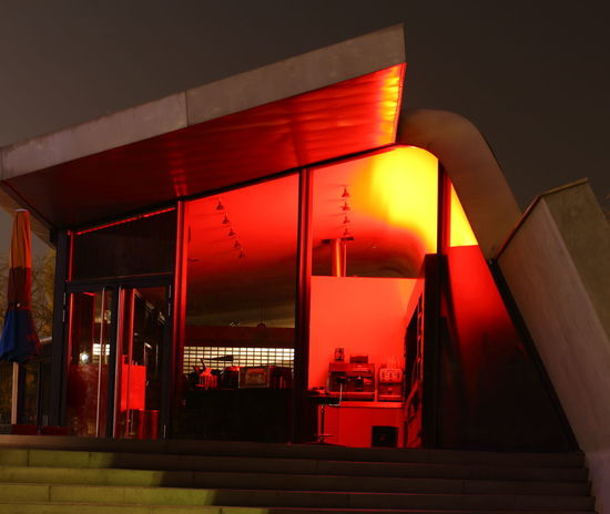 Architecture Atomium Brussels Building Exterior Built Structure Illuminated Night No People Outdoors Red