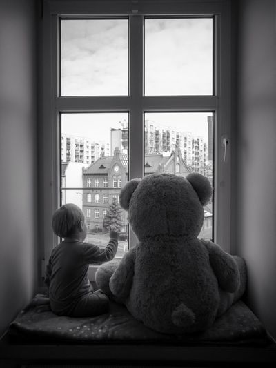 Rear view of boy with stuffed toy sitting at home