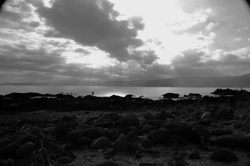 Monochrome Eos5dmarkiii Sky Sea Nature Beach Pebble Horizon Over Water Cloud - Sky No People Beauty In Nature Rock - Object Day Scenics Tranquil Scene Tranquility Pebble Beach Outdoors Water