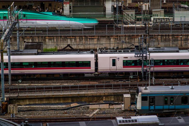 Train on railroad station platform