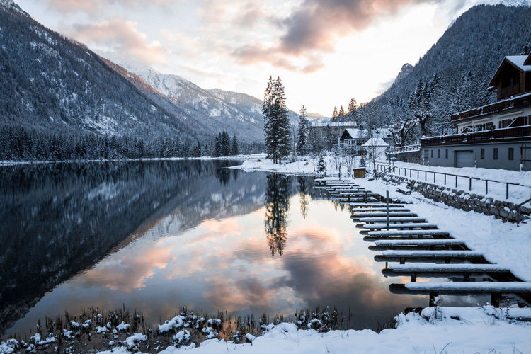 Bavaria Reflection Winter Architecture Bayern Beauty In Nature Built Structure Cloud - Sky Cold Temperature Germany Lake Landscape Mountain Mountain Range Nature No People Reflection Scenics - Nature Sky Snow Snowcapped Mountain Sunset Tranquil Scene Tranquility Winter