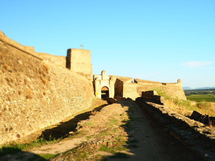 Fortaleza de Juromenha Rural Scene Castle Old-fashioned Fort History House Sunlight Sky Architecture Building Exterior Old Ruin Ancient Stone Wall Fortress Fortified Wall Ruined The Past