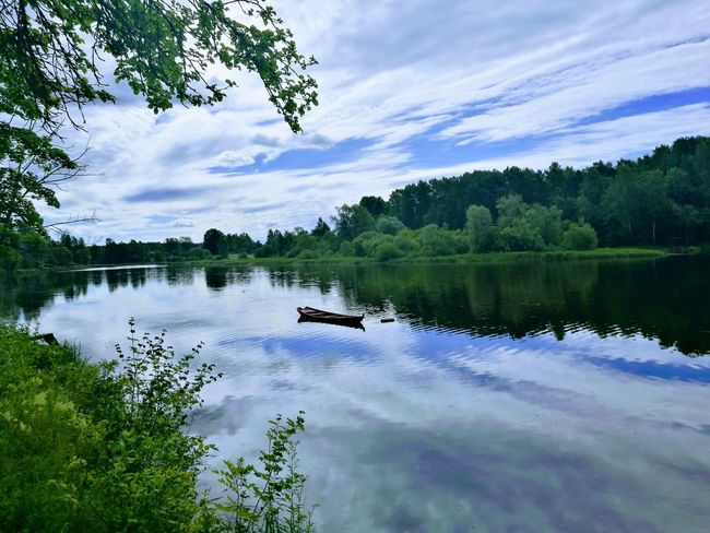 Water Nature Sky Cloud - Sky No People Boat River View Latviasummer Latvia Nature