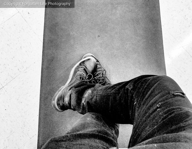 leanin, waitin, wishin. Wish #thoseshoes Honestlyidontknow ImWeirdSometimes Alsoimawesome Blackandwhite Waiting Low Section Men Human Leg Personal Perspective Legs Crossed At Ankle Wearing Feet Footwear Human Foot Shoe