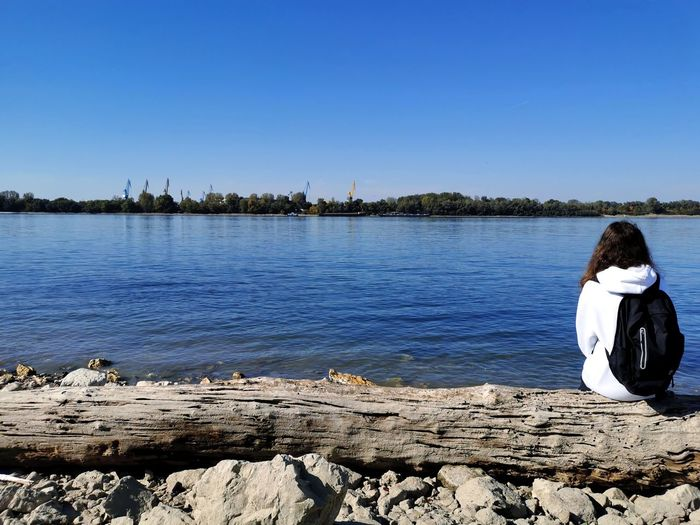Rear view of woman sitting by lake against clear sky