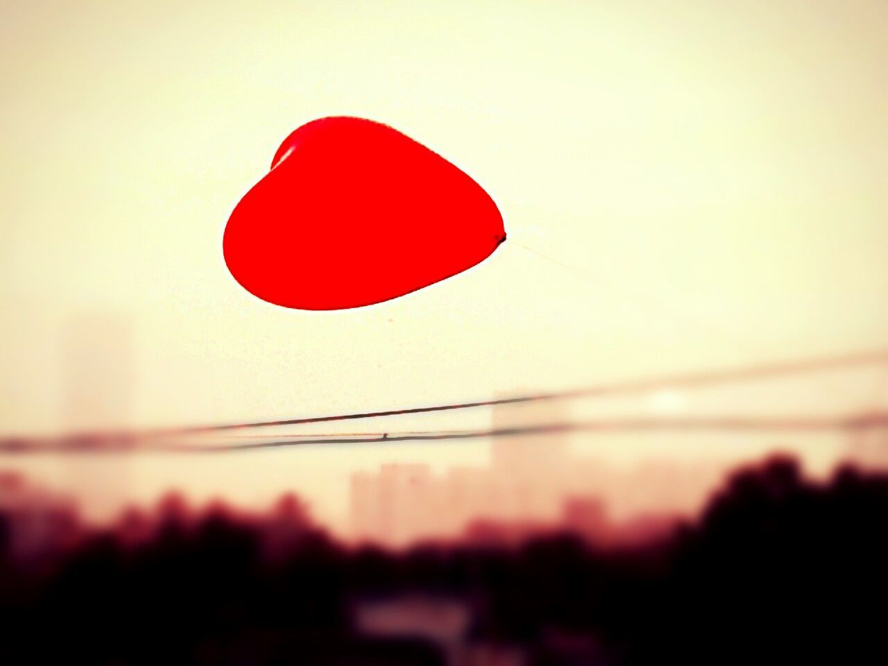 red, sky, sunset, nature, no people, heart shape, balloon, close-up, love, outdoors, silhouette, shape, positive emotion, focus on foreground, clear sky, day, design, emotion, water
