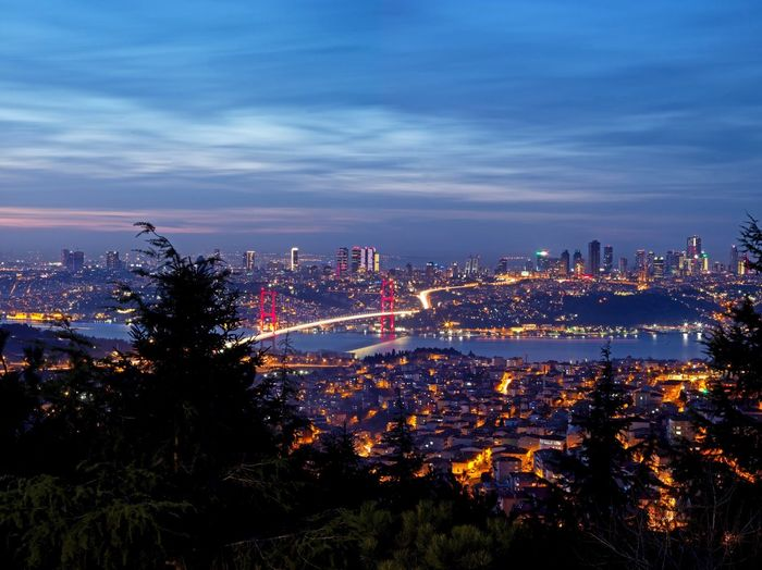 Istanbul cityscape at sunset Landscape EyeEm Best Shots EyeEm Nature Lover Longexposure Bosphorus Bridge Bosphorus Sunset Istanbul City Sky Illuminated Built Structure Architecture Building Exterior Cloud - Sky Nature Cityscape Building Water Plant Night Tree Dusk High Angle View Outdoors Skyscraper The Great Outdoors - 2019 EyeEm Awards
