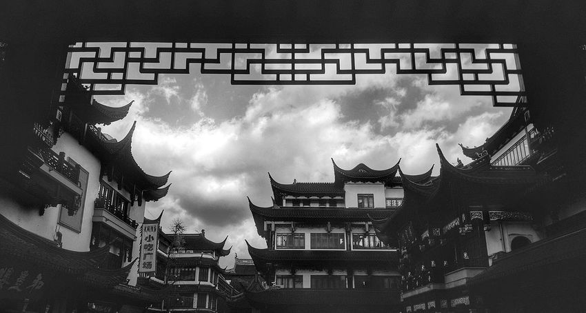 Chinese Architecture Historical Buildings Heritage Sites Architecture Architecture_collection Traditional Buildings Buildings & Sky Built Structure Blackandwhite Blackandwhite Photography Black & White B&W Collection Black And White Collection  at 豫园 Shanghai, China