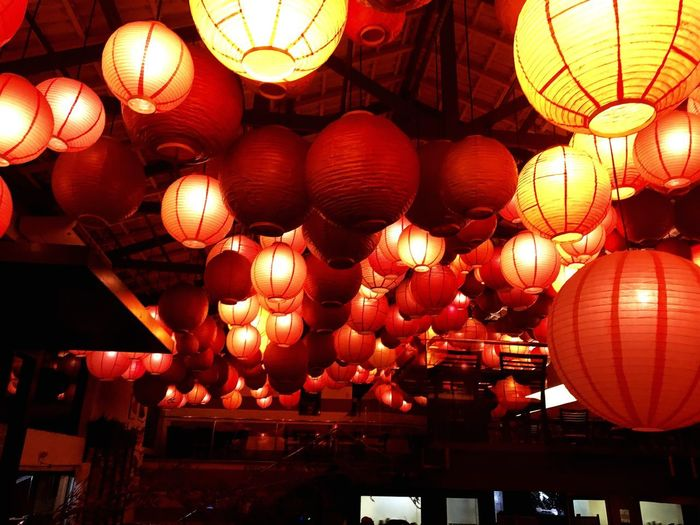 "Good food"" Lantern Lighting Equipment Hanging Illuminated Chinese Lantern Decoration Celebration Low Angle View Night Red Chinese Lantern Festival Traditional Festival Indoors"
