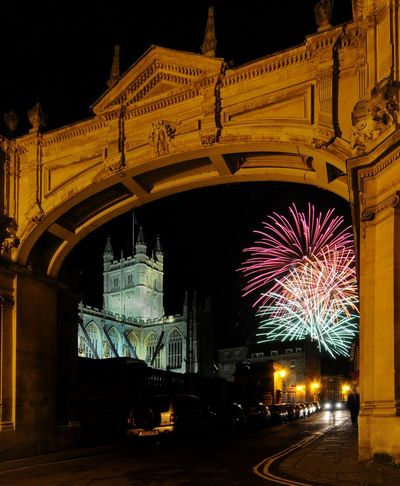 Architecture Bath Abbey  City Of Bath Fireworks Night Outdoors Sky York Street