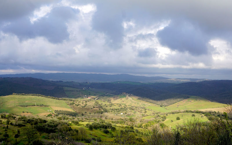 Tuscany Cloud - Sky Sky Scenics - Nature Environment Beauty In Nature Landscape Tranquil Scene Tranquility Nature Non-urban Scene No People Plant Day Outdoors Land Italy Tuscany Cloudy Travel Travel Destinations Rural Scene Rural