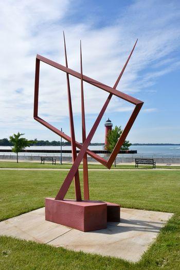 Harbor Park Kenosha  Kenosha Lighthouse Lighthouse Lighthouses Sculpture Walk Architecture Cloud - Sky Kenosha Lakefront Lighthouses Of Lake Michigan No People Outdoors Sculpture Tower Tranquility