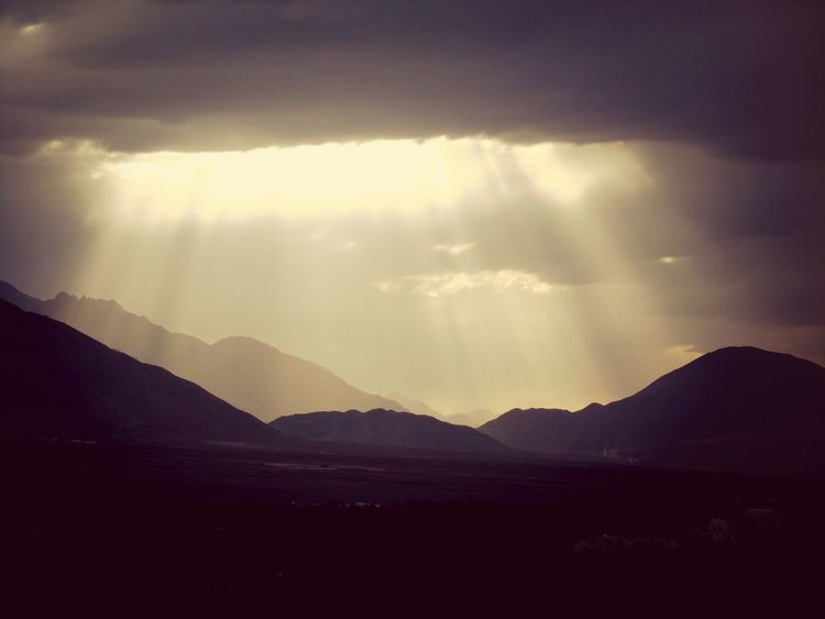 Mountains Clouds Sunlight