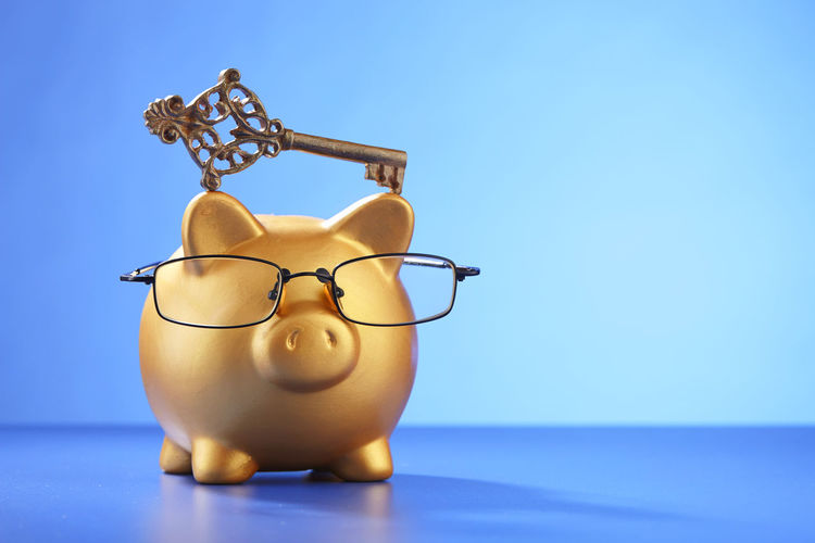 saving for your future Key Of Success Bring Home The Bacon Business Coin Box Copy Space Piggy Bank Animal Representation Blue Blue Background Coin Bank Colored Background Copy Space Debt Eyeglasses  Finance Home Finances Indoors  Indoors  Investment Key No People Savings Still Life Studio Shot Wealth