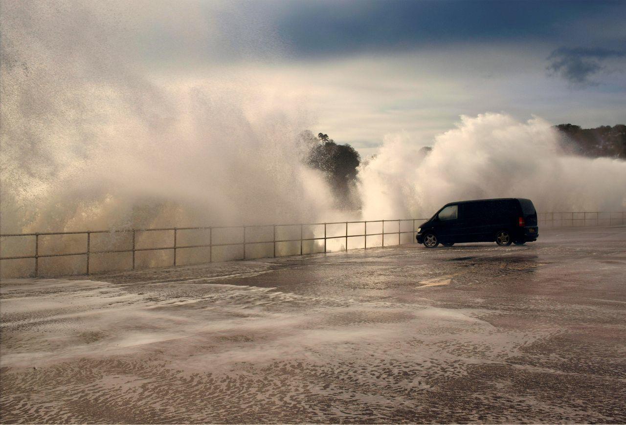 Waves Splashing On Promenade In Stormy Weather