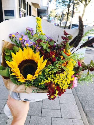 Close-up of hand holding flower bouquet