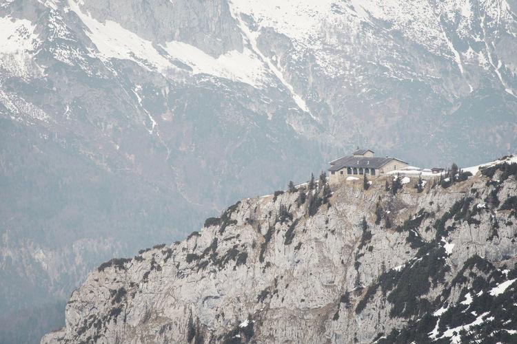 Building on mountain peak
