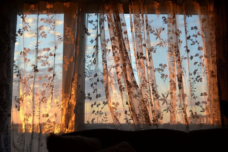 Indoors  Shadow Sunset Home Interior Drapes  Curtain Window Close-up Sky Textile