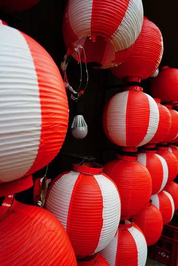Close-Up Of Lanterns Hanging Outdoors
