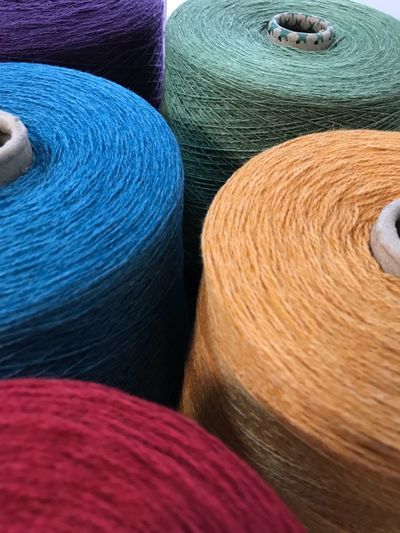 Full frame shot of colorful spools in store