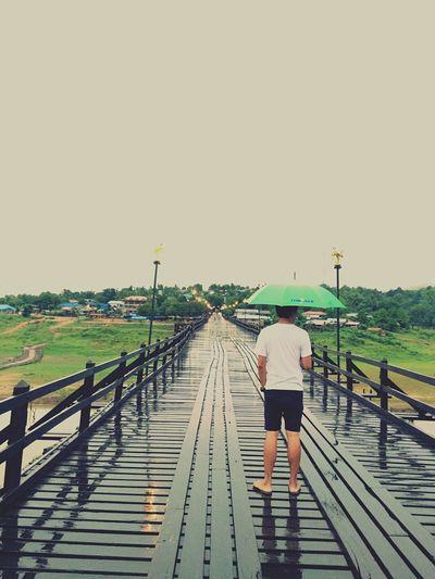 Bridge Rain Man Umbrella Alone