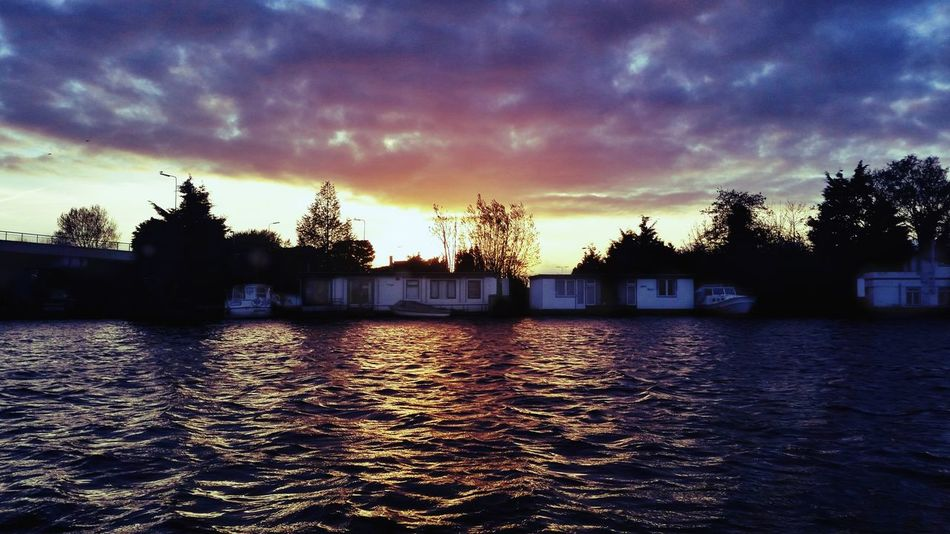 Rijn River Water Cloud - Sky Sky Sunset Houseboats Leiden Netherland Outdoors Silhouette Reflection
