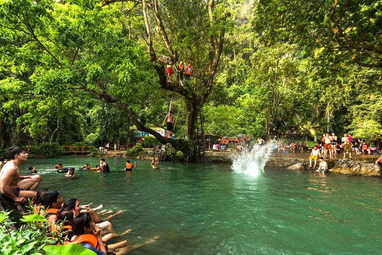 Vangvieng,Laos Day Flowing Water Laos Lifestyles Nature Outdoors River Tree Trip ลาว