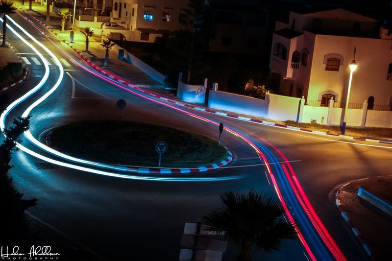 STOP-MOTION! EyeEmNewHere Illuminated Architecture City Built Structure Night Long Exposure EyeEmNewHere Light Trail Road Street Transportation Speed Motion High Angle View Car Motor Vehicle No People Mode Of Transportation Land Vehicle City Life Building Exterior