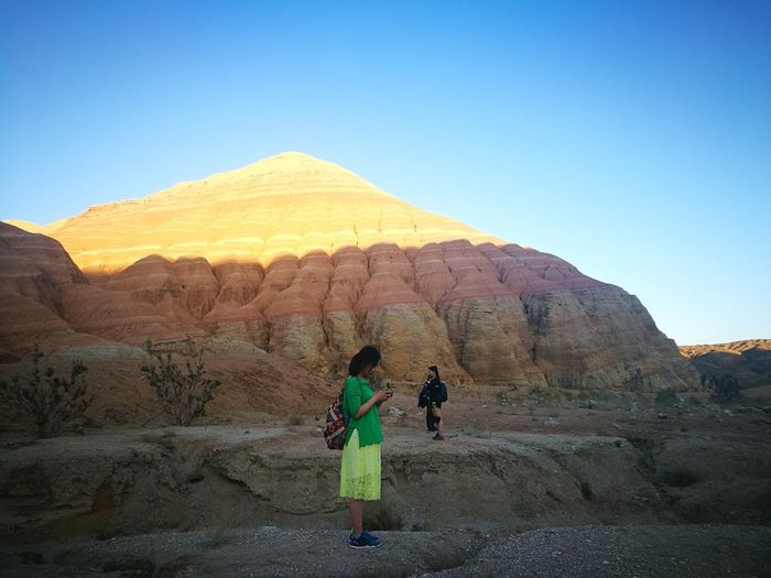 National Park Altyn-Emel Weekend Activities EyeEm Selects Beauty In Nature Womens Canyon Altyn Emel Clear Sky Desert Mountain Full Length Sky Landscape