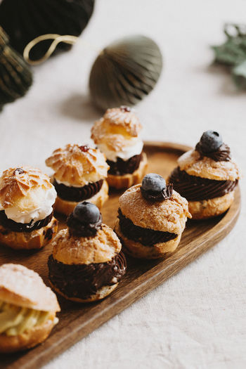 Chicolate and blueberry choux