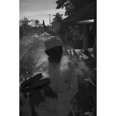 A Balinese priest leads the procession during temple festivities Bali INDONESIA Blackandwhite B &w bw monochrome religion documentary humaninterest portrait capture photojournalism asia everydayasia ontheroad photodocumentary reportage photooftheday picoftheday hinduism