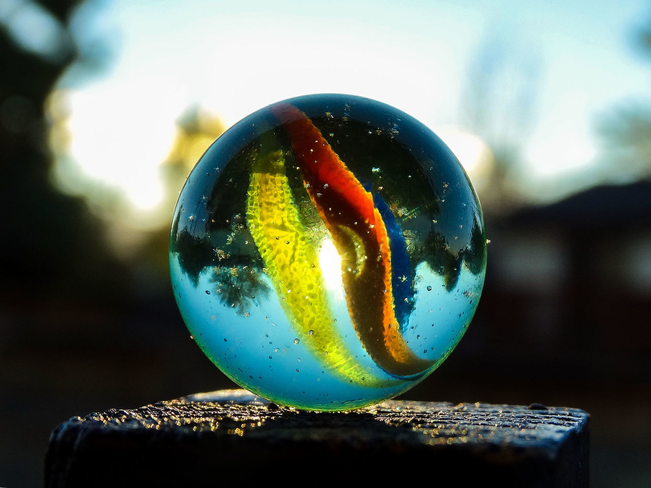 close-up, focus on foreground, no people, single object, outdoors, marbles, day, nature
