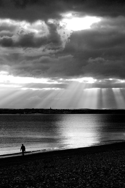 Walking The Beach Black & White Beach Beauty In Nature Blackandwhite Cloud - Sky Horizon Over Water Nature Outdoors Real People Sand Scenics Sea Silhouette Sky Solitude Standing Tranquil Scene Tranquility Walking Water