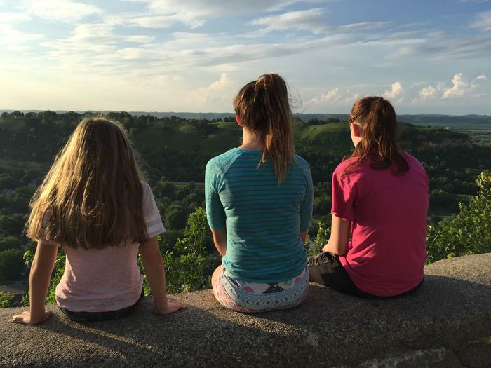 Memorial Park Overlook in Red Wing MN Carefree Casual Clothing Friendship Front View Full Length Happiness Innocence Leisure Activity Lifestyles Overlook Person Portrait Real People Three Quarter Length Women Young Adult Young Women