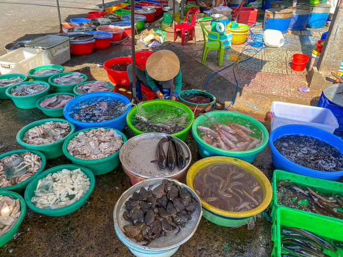 High angle view of various food for sale at market stall