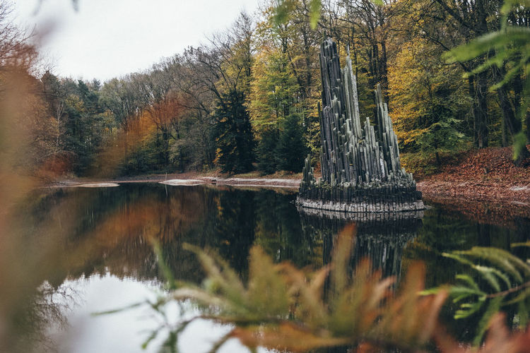 Rock Formation Autumn Beauty In Nature Day Forest Kromlau Lake Nature No People Outdoors Rakotzbridge Rakotzbrücke Reflection Rock - Object Scenics Tranquil Scene Tranquility Tree Water Waterfront The Week On EyeEm Perspectives On Nature