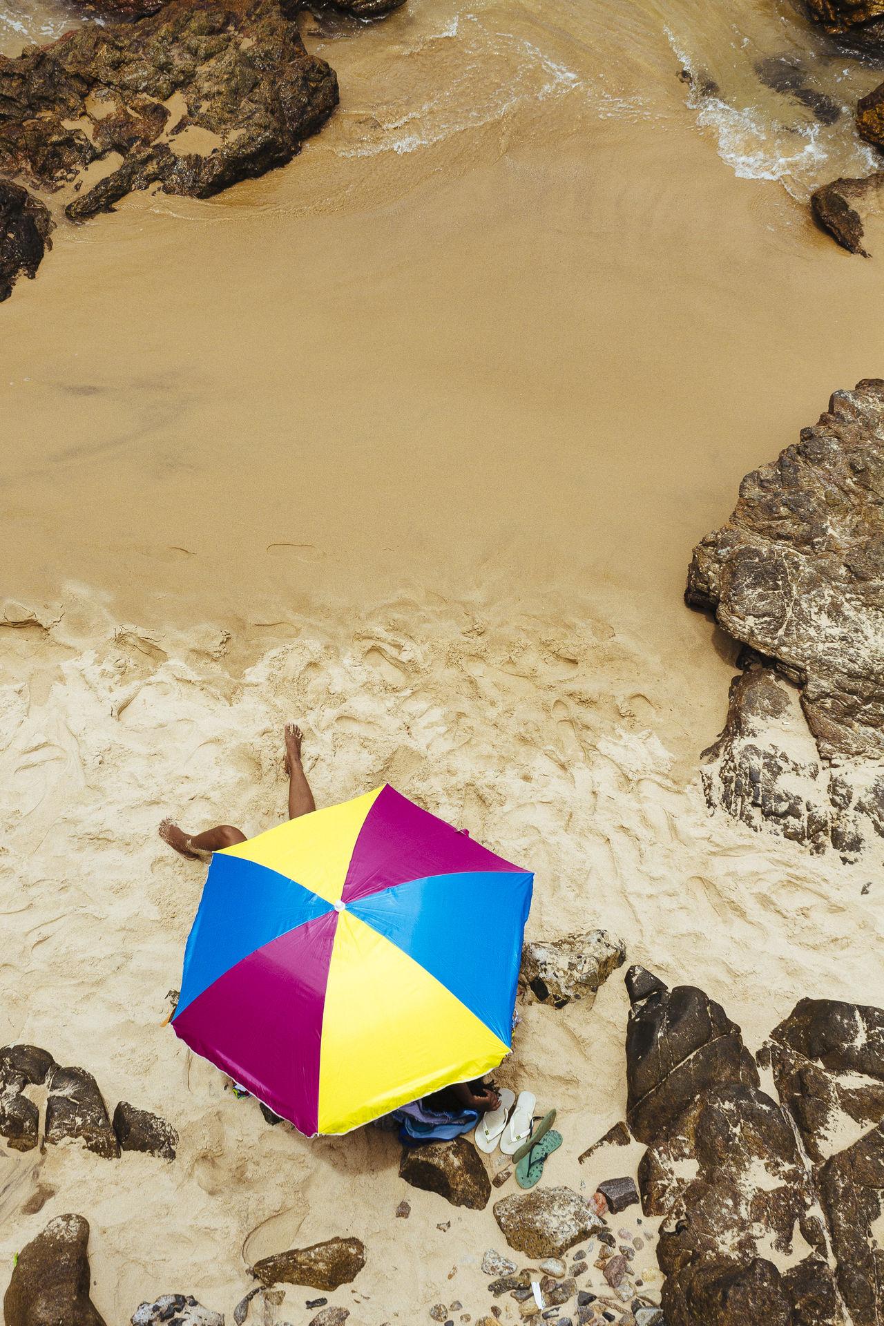 High angle view of umbrella on beach