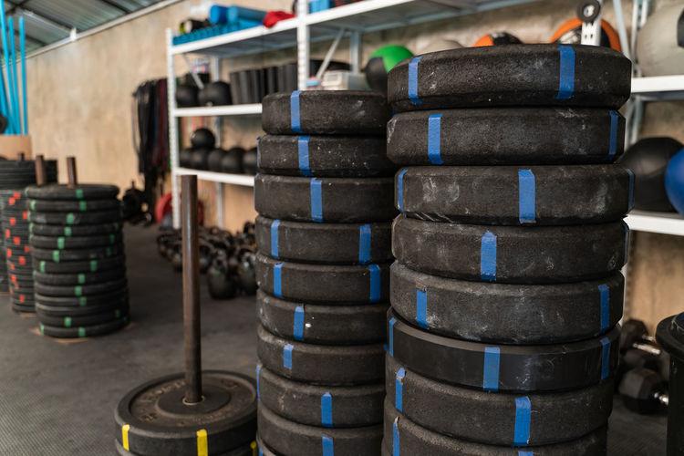 Stack of tires in workshop