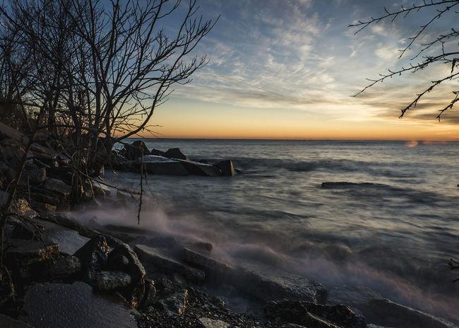 Sunset Horizon Over Water Sky Landscape Beauty In Nature Scenics Nature Horizon Waterscape Mke Milwaukee MKE 🏙 Wisconsin Wisconsin Life