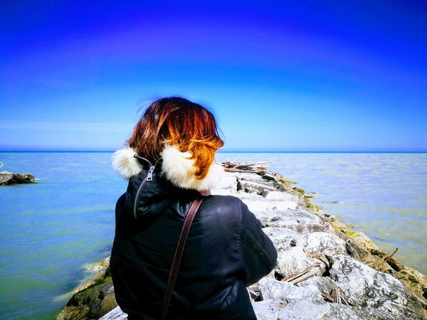 Water Clear Sky Sea Beach Women Blue Rear View Standing Back Sand Horizon Over Water Sand Dune Scenics Human Back Go Higher