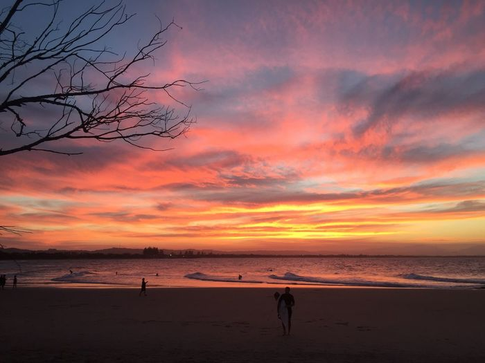Sunset on Byron Bay Australian Landscape Byronbay Sunset Beach Sand Beauty In Nature Nature Scenics Orange Color