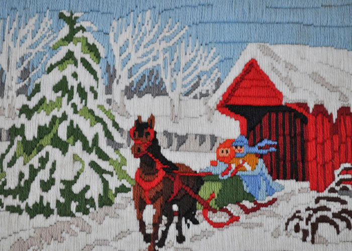 Needle Point Picture of a Winter Scene Needle Points Sewing Sled Winter Scene Animal Themes Art Carriage Covered Bridge Hand Made Handmade Horse No People Picture Snow