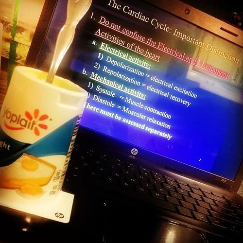 Meanwhile at work. ...? cream pie yogurt && studying the cardiac cycle ? Nightshiftshawty Nurs260 Patho Pathophysiology EMU EMUstudent physiologyofthecardiovascularsystem itscrunchtime countdowntoappdeadline 32days