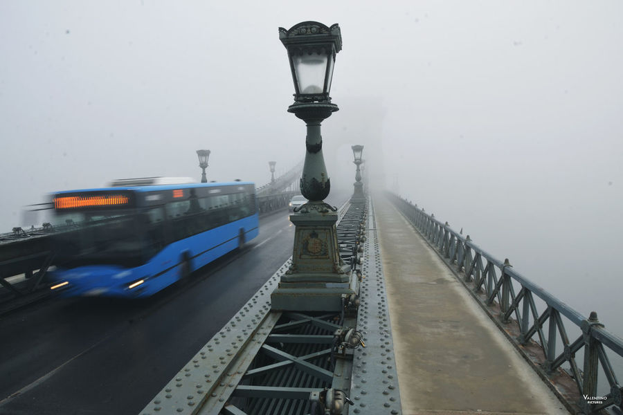 #budapest #bus #chaingbridge #foggymorning #iconicplace #longexposure #Morning #motion #reportage #rush Bridge - Man Made Structure Day No People Outdoors Sky