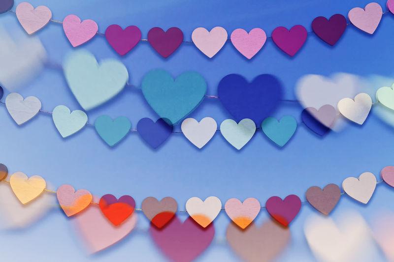 Blue Multi Colored Heart Shape Emotion Positive Emotion Temptation Love Creativity Valentine's Day  Happy Happiness Wedding Marriage  Friendship Friends Design Postcard Greeting Card  Greetings Birthday Cheerful Romantic Romance Anniversary Card