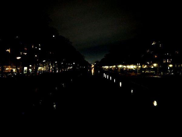 Illuminated Landwehr canal by night. Water Canal Vanishing Point Night Nightlife Illuminated