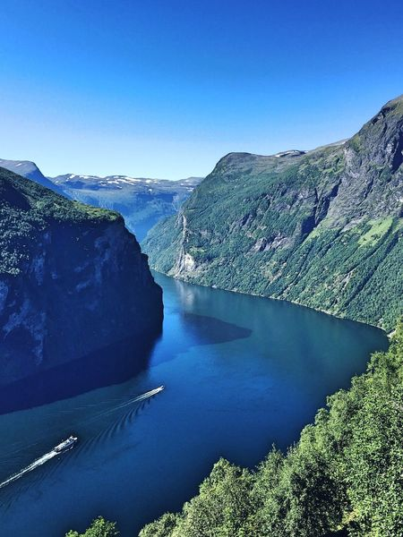 Geiranger fjord Beauty In Nature Water Tranquility Tranquil Scene Non-urban Scene Idyllic Clear Sky Nature No People Landscape Sky Outdoors Mountain Blue Day